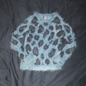 Justice girls 12 fuzzy blue sweater w leopard prin